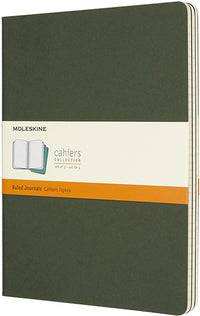 Moleskine - Cahier Journal - Set 3 Notebooks with Ruled Pages - Cardboard Cover with Visible Cotton Stiching - Color Myrtle Green - Extra Large 19 x 25 cm - 120 Pages
