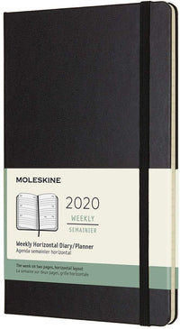 Moleskine - 12 Months Agenda Weekly Horizontal 2020  -  Hard Cover and Elastic Closure - Black Color - Large 13 x 21 cm - 144 Pages