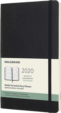 Moleskine - 12 Months Agenda Weekly Horizontal 2020  -  Soft Cover and Elastic Closure - Black Color - Large 13 x 21 cm - 144 Pages