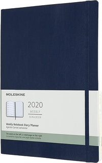 Moleskine - 12 Months Agenda Weekly 2020  -  Soft Cover and Elastic Closure - Sapphire Blue Color - Extra Large 19 x 25 cm - 144 Pages