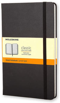 Moleskine - Classic Ruled Paper Notebook - Hard Cover and Elastic Closure Journal - Color Black - Size Pocket 9 x 14 A6 - 192 Pages