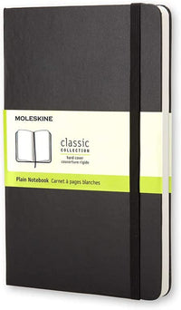 Moleskine - Classic Plain Paper Notebook - Hard Cover and Elastic Closure Journal - Color Black - Size Pocket 9 x 14 A6 - 192 Pages