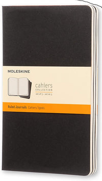 Moleskine - Cahier Journal - Set 3 Notebooks with Ruled Pages - Cardboard Cover with Visible Cotton Stiching - Color Black - Large 13 x 21 cm - 80 Pages