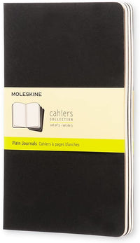 Moleskine - Cahier Journal - Set 3 Notebooks with Plain Pages - Cardboard Cover with Visible Cotton Stiching - Color Black - Large 13 x 21 cm - 80 Pages