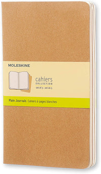 Moleskine - Cahier Journal - Set 3 Notebooks with Plain Pages - Cardboard Cover with Visible Cotton Stiching - Color Kraft Brown - Large 13 x 21 cm - 80 Pages
