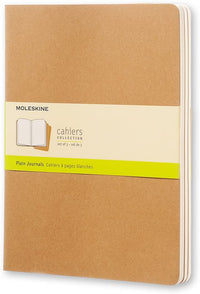 Moleskine - Cahier Journal - Set 3 Notebooks with Plain Pages - Cardboard Cover with Visible Cotton Stiching - Color Kraft Brown - Extra Large 19 x 25 cm - 120 Pages