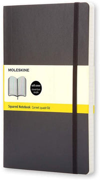 Moleskine - Classic Squared Paper Notebook - Soft Cover and Elastic Closure Journal - Color Black - Size Large 13 x 21 A5- 192 Pages