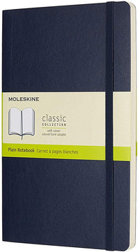 Moleskine - Classic Plain Paper Notebook - Soft Cover and Elastic Closure Journal - Color Sapphire Blue - Size Large 13 x 21 A5 - 192 Pages