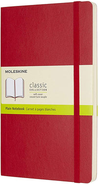Moleskine - Classic Plain Paper Notebook - Soft Cover and Elastic Closure Journal - Color Scarlet Red - Size Large 13 x 21 A5 - 192 Pages