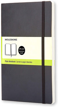 Moleskine - Classic Plain Paper Notebook - Soft Cover and Elastic Closure Journal - Color Black - Size Large 13 x 21 A5 - 192 Pages