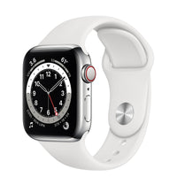 Apple Watch Series 6 GPS + Cellular, Silver Stainless Steel Case with White Sport Band - Regular