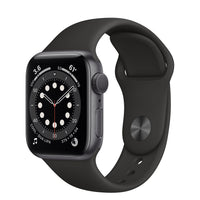 Apple Watch Series 6 Space Gray Aluminum Case with Black Sport Band - Regular
