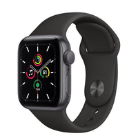 Apple Watch SE Space Gray Aluminum Case with Black Sport Band - Regular