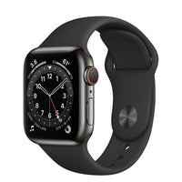 Apple Watch Series 6 GPS + Cellular, Graphite Stainless Steel Case with Black Sport Band - Regular