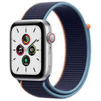 Apple Watch SE GPS + Cellular, Silver Aluminum Case with Deep Navy Sport Loop