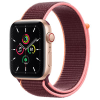 Apple Watch SE GPS + Cellular, Gold Aluminum Case with Plum Sport Loop