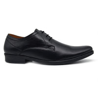 Men Black Textured Leather Formal Derbys