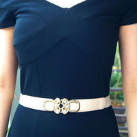 Metal Woven Design Embellished Buckle Elasticated Waist Belt