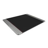 Promate - Mouse Pad, Premium Leather-Wrapped Anodized Aluminum Mouse Pad with Non-Slip Rubber Base for Fast Accurate Control and Large Working Area for Laptops, PC, Desktops, MetaPad-Pro grey