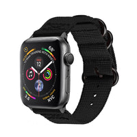 Promate - Nylon Apple Watch Band 42mm and 44mm, High-Quality Adjustable Woven Nylon Sport Strap Replacement with Quick Release Matte Steel Buckle and Sweatproof for Apple Watch Series 4/3/2/1, Nylox-42 Black