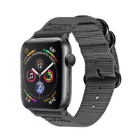 Promate - Nylon Apple Watch Band 42mm and 44mm, High-Quality Adjustable Woven Nylon Sport Strap Replacement with Quick Release Matte Steel Buckle and Sweatproof for Apple Watch Series 4/3/2/1, Nylox-42 Grey