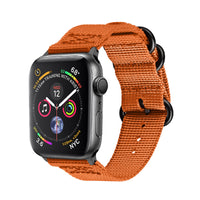 Promate - Nylon Apple Watch Band 42mm and 44mm, High-Quality Adjustable Woven Nylon Sport Strap Replacement with Quick Release Matte Steel Buckle and Sweatproof for Apple Watch Series 4/3/2/1, Nylox-42 Orange