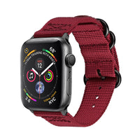 Promate - Nylon Apple Watch Band 42mm and 44mm, High-Quality Adjustable Woven Nylon Sport Strap Replacement with Quick Release Matte Steel Buckle and Sweatproof for Apple Watch Series 4/3/2/1, Nylox-42 Red
