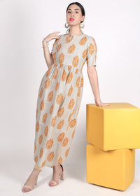 Off-White mustard yellow and grey printed A-line kurta