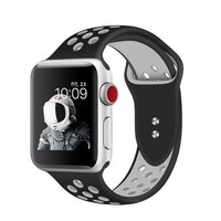 Promate - Silicone Sport Band, Breathable Two-Toned Perforated Replacement Strap Breathable Wristband with Secure Double Pin-Tuck Closure and Sweat-Resistant for Apple Watch Series 42mm/44mm Medium/Large Size, Oreo-42ML Black White