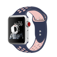 Promate - Silicone Sport Band, Breathable Two-Toned Perforated Replacement Strap Breathable Wristband with Secure Double Pin-Tuck Closure and Sweat-Resistant for Apple Watch Series 42mm/44mm Medium/Large Size, Oreo-42ML Blue Pink