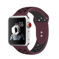 Promate - Silicone Sport Band, Breathable Two-Toned Perforated Replacement Strap Breathable Wristband with Secure Double Pin-Tuck Closure and Sweat-Resistant for Apple Watch Series 42mm/44mm Small/Medium Size, Oreo-42SM Maroon Black