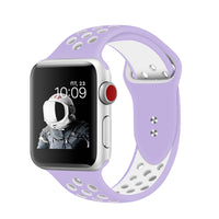 Promate - Silicone Sport Band, Breathable Two-Toned Perforated Replacement Strap Breathable Wristband with Secure Double Pin-Tuck Closure and Sweat-Resistant for Apple Watch Series 42mm/44mm Medium/Large Size, Oreo-42ML Purple White