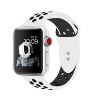 Promate - Silicone Sport Band, Breathable Two-Toned Perforated Replacement Strap Breathable Wristband with Secure Double Pin-Tuck Closure and Sweat-Resistant for Apple Watch Series 42mm/44mm Small/Medium Size, Oreo-42SM Black White