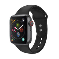 Promate - Sport Silicone Apple Watch 42mm/44mm Strap, Durable Sweatproof Silicone Replacement Wrist Strap with Secure Double Lock Pin and Adjustable Soft Band for Apple Watch Series 1,2,3 and 4 Small/Medium Size, Oryx-42SM Black