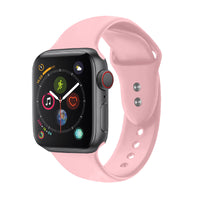 Promate - Sport Silicone Apple Watch 42mm/44mm Strap, Durable Sweatproof Silicone Replacement Wrist Strap with Secure Double Lock Pin and Adjustable Soft Band for Apple Watch Series 1,2,3 and 4 Small/Medium Size, Oryx-42SM Light Pink
