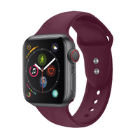 Promate - Sport Silicone Apple Watch 42mm/44mm Strap, Durable Sweatproof Silicone Replacement Wrist Strap with Secure Double Lock Pin and Adjustable Soft Band for Apple Watch Series 1,2,3 and 4 Medium/Large Size, Oryx-42ML Maroon