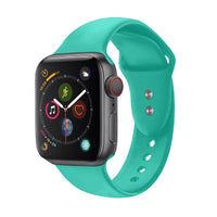 Promate - Sport Silicone Apple Watch 42mm/44mm Strap, Durable Sweatproof Silicone Replacement Wrist Strap with Secure Double Lock Pin and Adjustable Soft Band for Apple Watch Series 1,2,3 and 4 Small/Medium Size, Oryx-42SM Turquoise