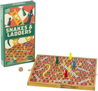 Professor Puzzle WOODEN SNAKES AND LADDERS - Traditional / Classic Wooden Family Board Game, Folding Design, Fun Family game, Indoor or Outdoor, Mulit-players, for Kids, Adults, Family, Friends