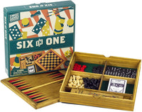 Professor Puzzle WOODEN GAMES COMPENDIUM - Portable 6-in-1 Combination Game Set - Checkers, Chess, Backgammon, Pick-up Sticks, Cards & Dominoes Set| Indoor/Outdoor, for Kids, Adults, Family, Friends