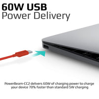 Promate - USB-C™ to USB-C™ Cable, Premium 60W Power Delivery USB Type-C™ to Type-C™ 3A Sync and Charge Cable with 2 Meter Tangle Free Cord for MacBook Pro, Google Pixel XL, Nexus 5X/6P, PowerBeam-CC2 Red