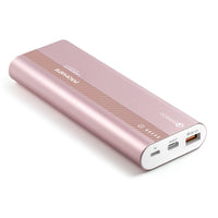 Promate Qualcomm QC3.0 Power Bank, Aluminium Portable 10000mAh USB Type-C Input /Output 18W Power Delivery Portable Charger with Over Charging Protection for iPhone XS /XS Max, Samsung S9+, iPad, PowerTank-20 Rosegold