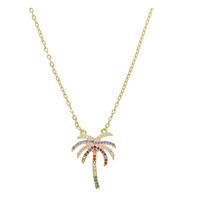 Rainbow Palm Tree Necklace