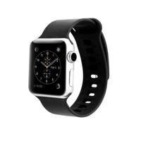 Promate - Silicone Sport Band, Lightweight Replacement Strap Wristband with Secure Pin-Tuck Closure and Sweat-Resistant for Apple Watch Series 42mm/44mm Medium/Large Size, Rarity-42ML Black