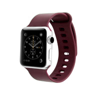 Promate - Silicone Sport Band, Lightweight Replacement Strap Wristband with Secure Pin-Tuck Closure and Sweat-Resistant for Apple Watch Series 42mm/44mm Medium/Large Size, Rarity-42ML Maroon