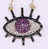 Red CZ Evil Eye Necklace
