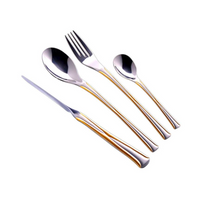 Dessini High Quality Stainless Steel Cutlery Set 39 Pcs - Golden Strips