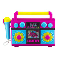 KIDdesigns Trolls World Tour Sing Along Karaoke Boombox for Kids, Built in Music LED Flashing Lights w/ Mic, Toys for Kids Portable Karaoke Machine, Connects MP3 Player Audio Device w/ Play Button