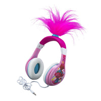 KIDdesigns Trolls World Tour Poppy Wired Headphones - Volume Limiting for Kid Friendly Safe Listening |Glow in the Dark w/ 3 Volume Settings | Adjustbale Headband, Good Sound 3.5mm connectivity - Pink