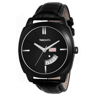 Timesmith Day Date Black Leather Black Dial Watch For Men