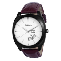 Timesmith Day Date Brown Leather White Dial Watch For Men